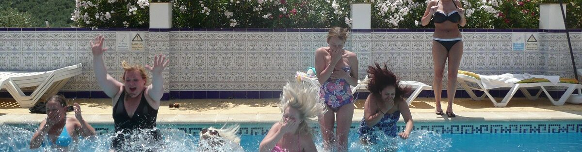 Spanish Holiday Villa Hen Girls in the pool July 2012
