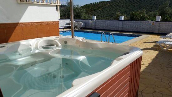 spa near swimming pool